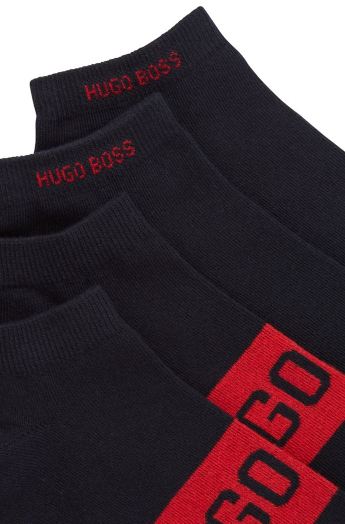 Lot de deux paires de chaussettes basses à logos contrastants