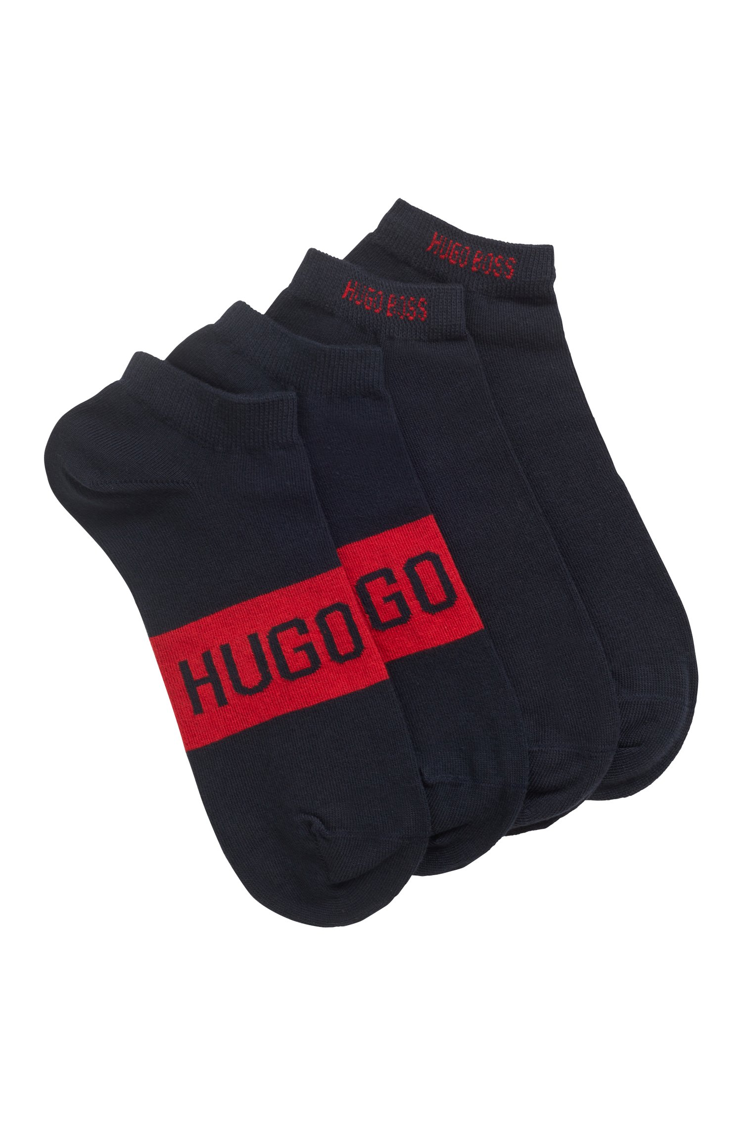 Two-pack of ankle socks with contrast logo details, Dark Blue