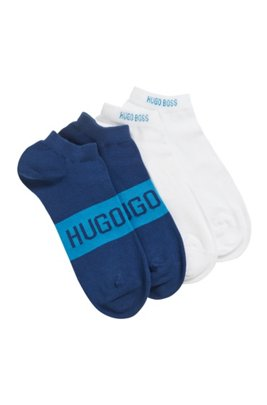 Two-pack of ankle socks with contrast logo details, Light Blue