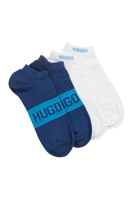 Zweier-Pack Sneakers-Socken mit kontrastfarbenen Logo-Details, Hellblau
