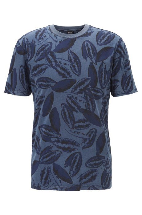 Cotton-blend T-shirt with kapok-seed print, Dark Blue