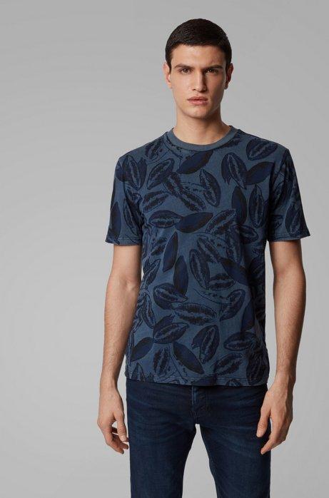T-Shirt aus Baumwoll-Mix mit Kapoksamen-Print, Dunkelblau