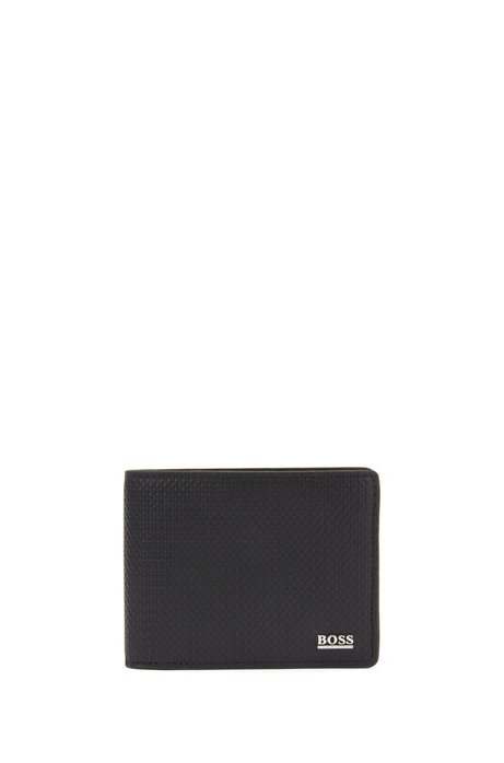 Geldbörse aus Leder mit Monogramm-Prägung, Schwarz