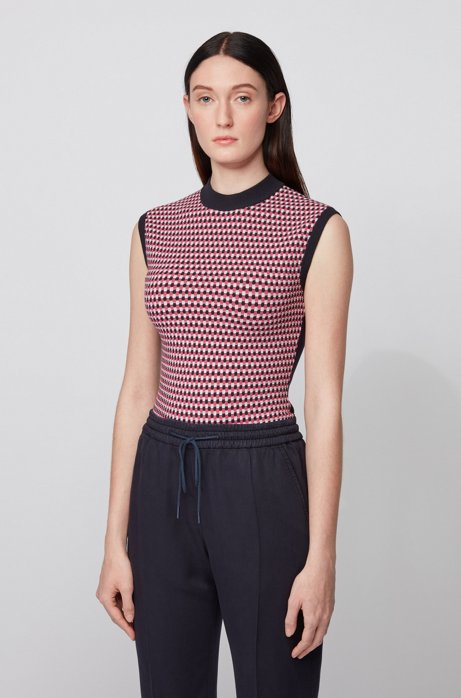 Slim-fit sleeveless top with knitted jacquard front, Dark Red
