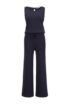 Wide-leg sleeveless jumpsuit with tie waist, Dark Blue