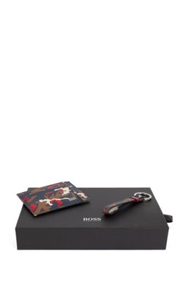 Camouflage-print leather card holder and key ring set, Patterned