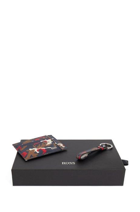 Set mit Kartenetui und Schlüsselanhänger aus Leder mit Camouflage-Print, Gemustert