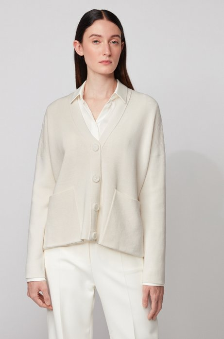 Oversized-fit cardigan in cotton and silk , White