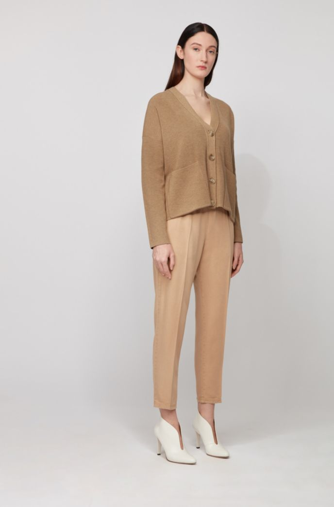 Oversized-fit cardigan in cotton and silk