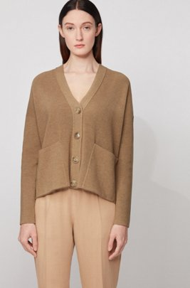 Oversized-fit cardigan in cotton and silk , Beige