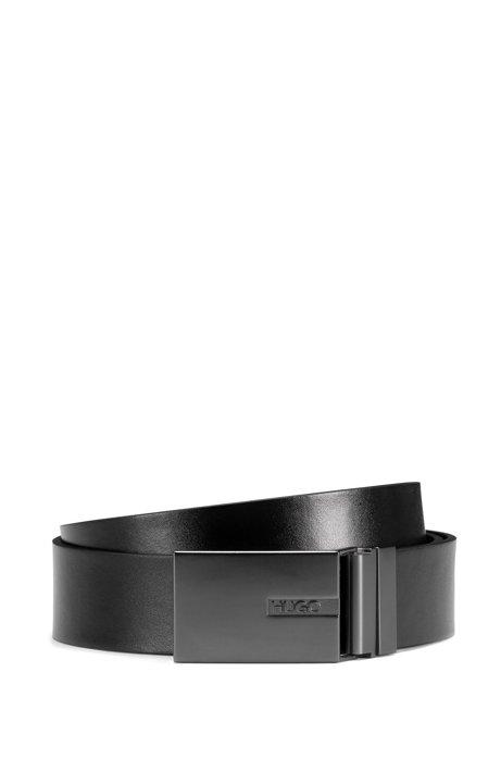 Ledergürtel mit Dorn- und Koppelschließe aus gebürstetem Metall, Schwarz