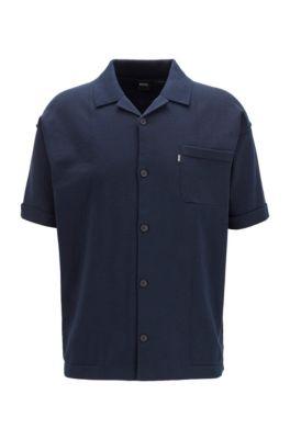 Cardigan en maille à manches courtes en coton, avec poche plaquée, Bleu foncé