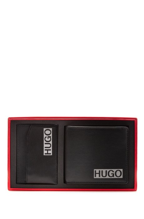 Set de regalo de cartera y tarjetero con logo estampado, Negro