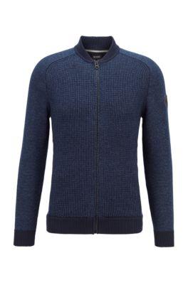 Gebreide jas in blousonstijl van een katoenmix, Donkerblauw