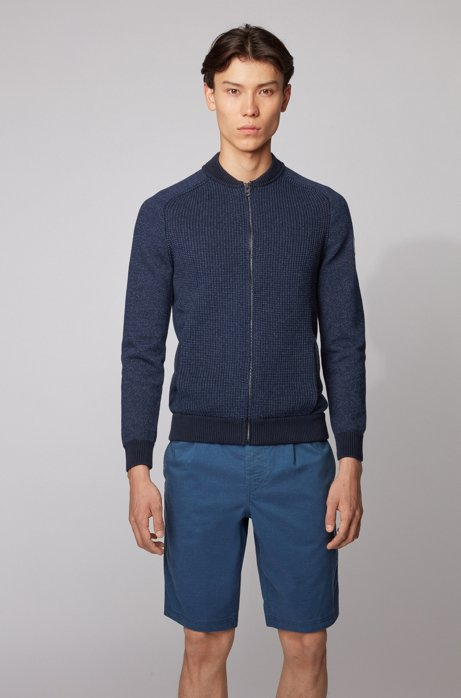 Blouson-style knitted jacket in a cotton blend, Dark Blue