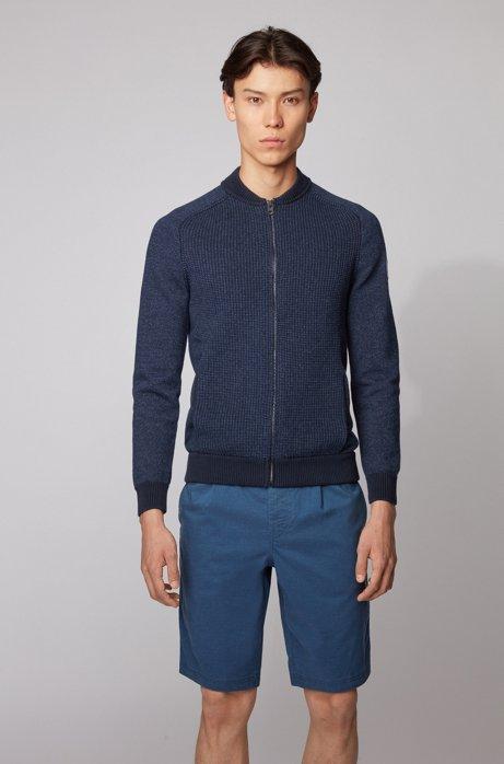 Giubbotto in maglia stile blouson in misto cotone, Blu scuro