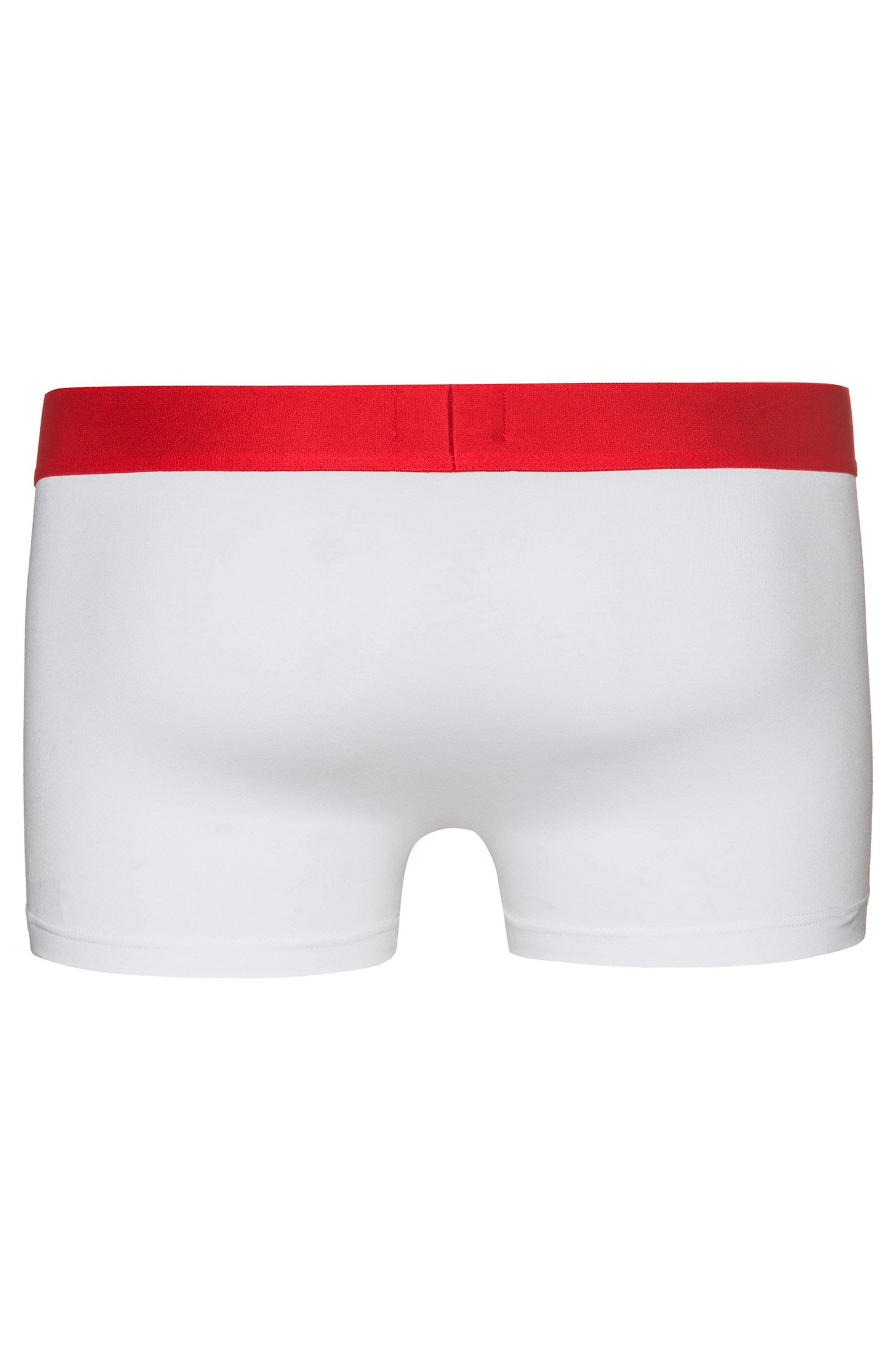 Boxer court à taille basse en coton stretch avec ceinture à logo