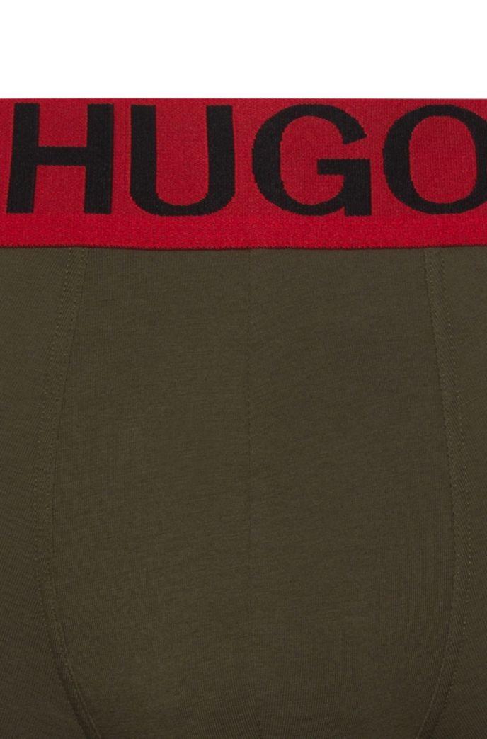 Boxer long à taille basse en coton stretch avec ceinture logo