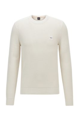 Regularf-fit sweater in structured cotton with linen trims, Light Beige
