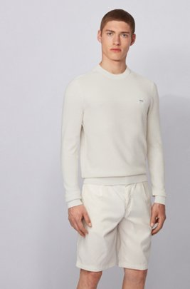 Regularf-fit sweater in structured cotton with linen trims, ライトベージュ