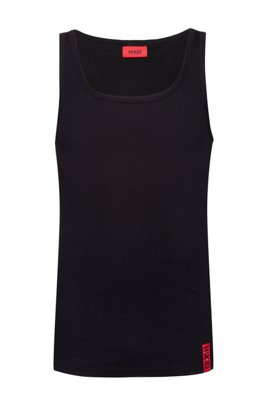 Slim-fit tank top with vertical logo, Black