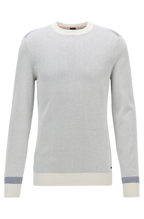 Regular-fit sweater with two-tone micro-jacquard structure, Light Beige