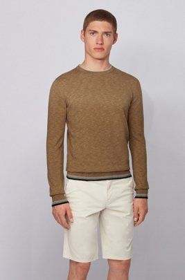 Melange-cotton sweater with dégradé tipping stripes, Beige