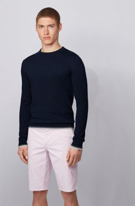 Melange-cotton sweater with dégradé tipping stripes, Dark Blue