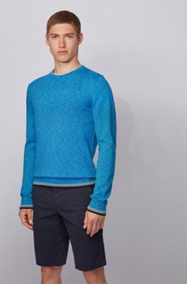 Melange-cotton sweater with dégradé tipping stripes, Turquoise