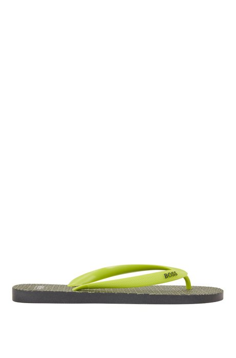 Rubber flip-flops with monogram sole, Yellow