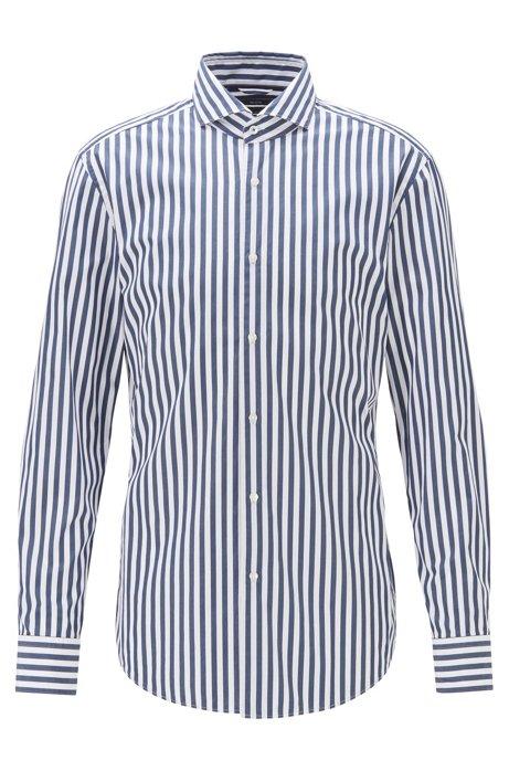 Slim-fit shirt in striped cotton poplin, Open Blue