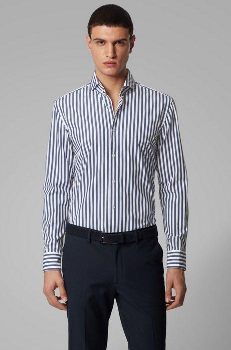 Gestreiftes Slim-Fit Hemd aus Baumwoll-Popeline, Hellblau