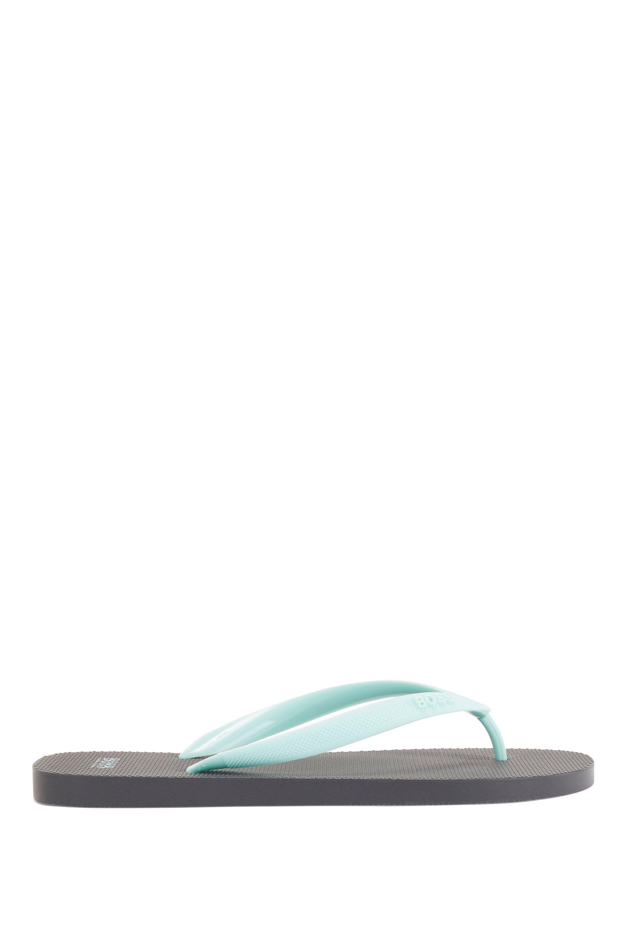 Rubber flip-flops with new-season logo, Dark Green