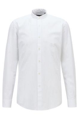 Chemise Slim Fit en coton seersucker, avec col officier, Blanc