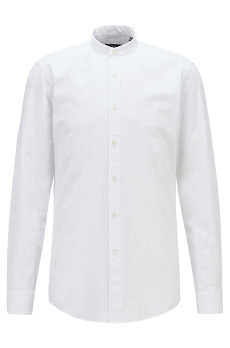 Slim-fit shirt in cotton seersucker with stand collar, White