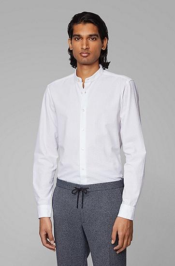 棉质泡泡布立领修身衬衫,  100_White