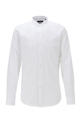 Chemise Slim Fit en coton structuré à col officier, Blanc