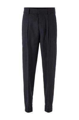 Pantalon Tapered Fit en laine vierge traçable, Bleu foncé