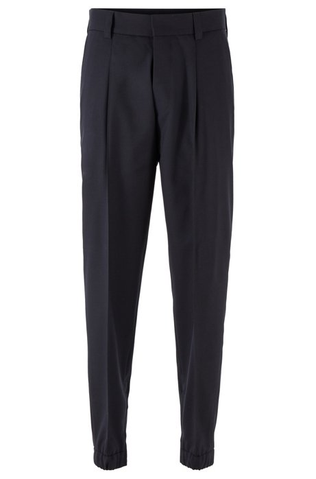 Tapered-fit trousers in traceable virgin wool, Dark Blue