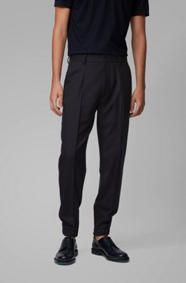 Tapered-fit trousers in traceable virgin wool, Dark Blue