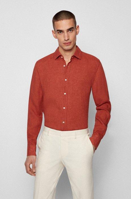 Slim-fit shirt in washed Italian linen, Dark Orange