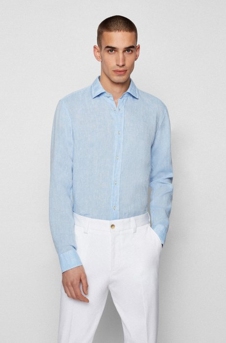 Slim-fit shirt in washed Italian linen, Light Blue
