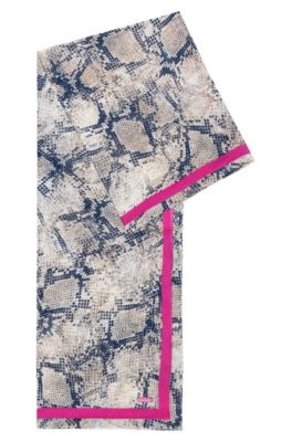 Snakeskin-pattern scarf in cotton with silk, Patterned