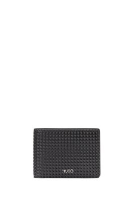 Diamond-embossed billfold wallet in faux leather, Black