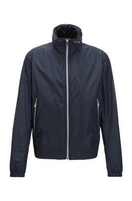 Veste zippée style blouson avec capuche dans le col, Bleu foncé