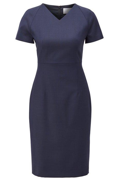 Gemustertes Kurzarm-Kleid aus italienischer Schurwolle, Blau