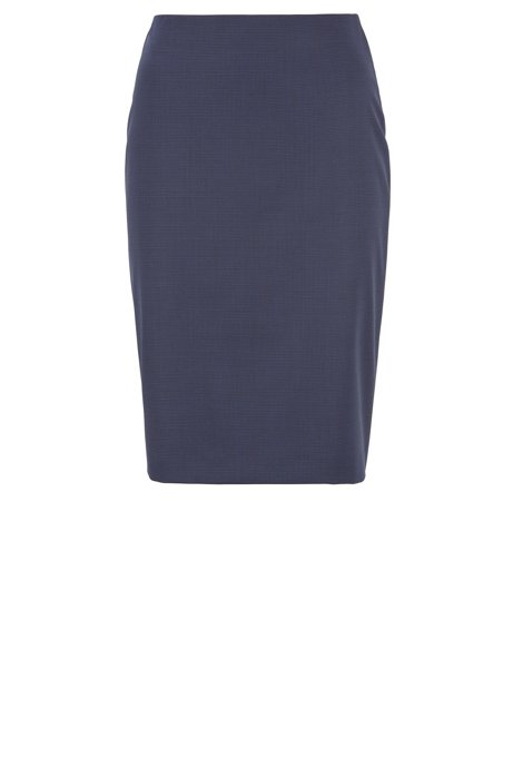 Pencil skirt in patterned wool with silky lining, Dark Blue