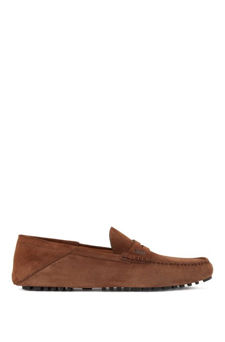 Suede moccasins with collapsible heel counter, Dark Brown