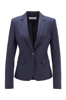 Regular-Fit Blazer aus fein gemusterter Schurwolle, Blau