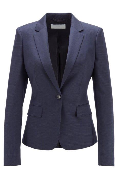 Regular-fit colbert van wol met microdessin, Blauw